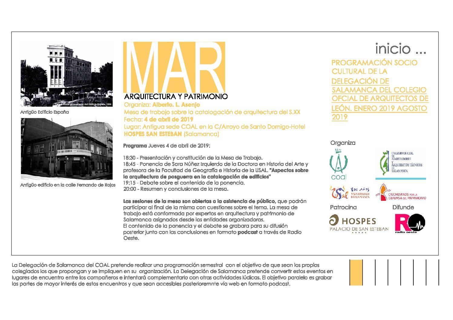 Recordatorio y actualización Tercera Actividad del Programa Sociocultural de la Delegación de Salamanca