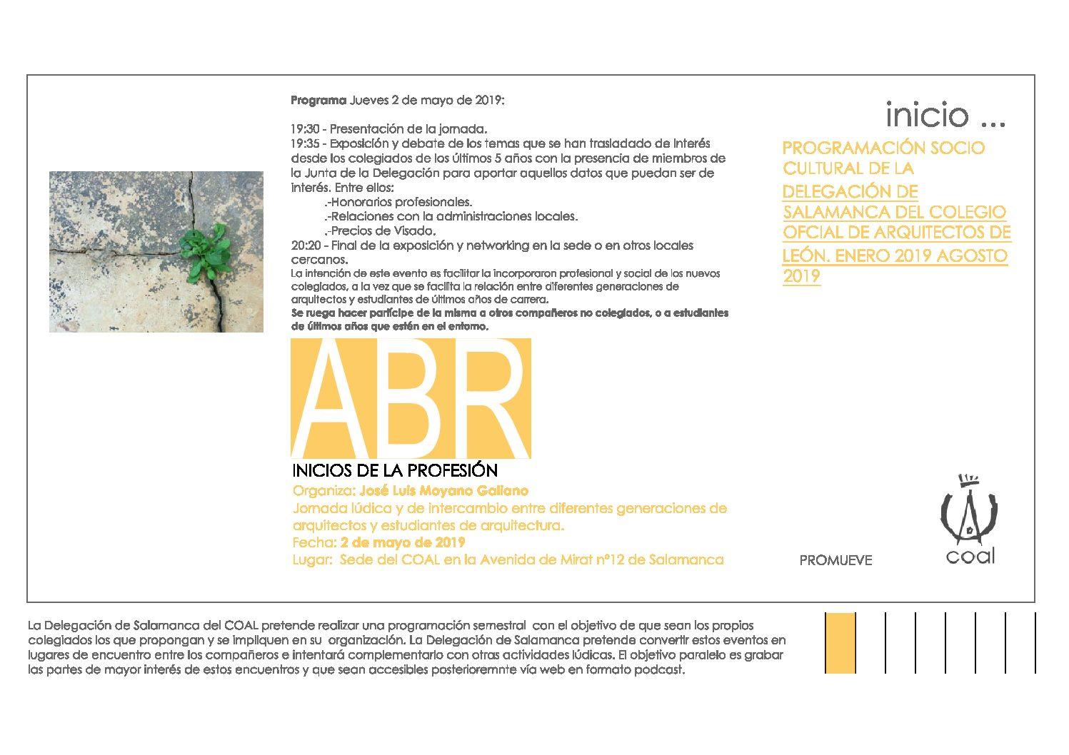 Programación Sociocultural de la Delegación de Salamanca. Jornada «Inicios de la Profesión»