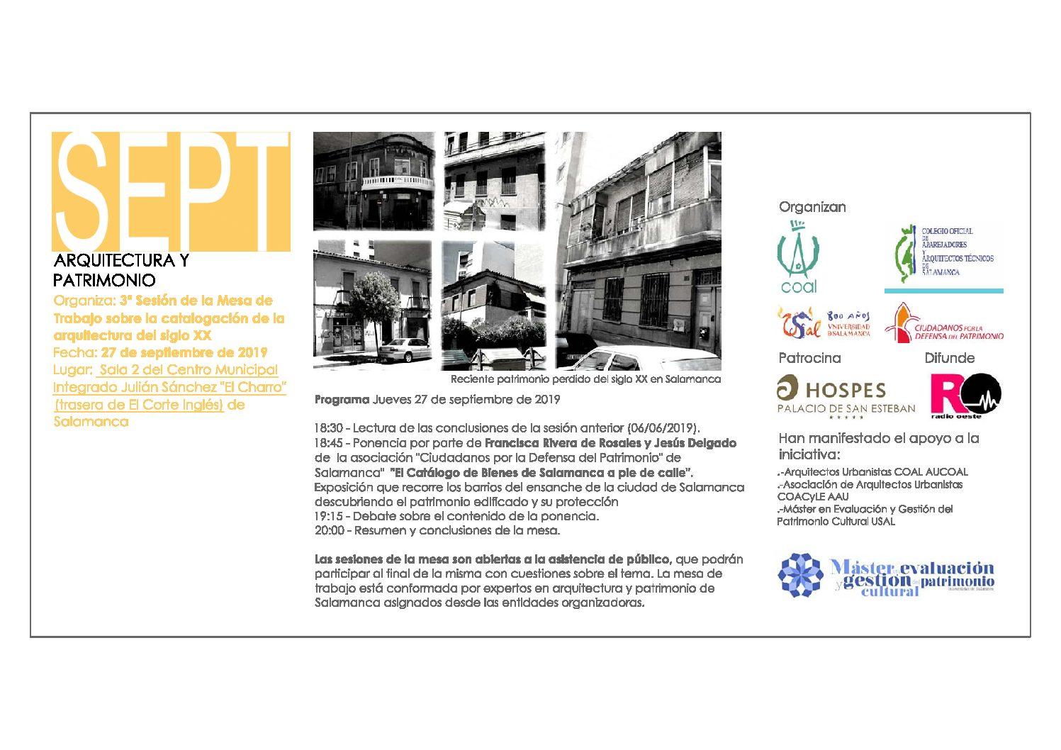 Mesa de trabajo sobre la catalogación de la edificación del siglo XX en Salamanca