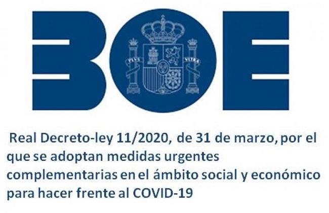 Resumen Medidas Real Decreto 11/2020, de 31 de marzo