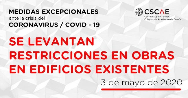 Consideraciones CSCAE y CGATE sobre la Orden SND/385/2020, de 2 de mayo, de intervención en Edificios Existentes